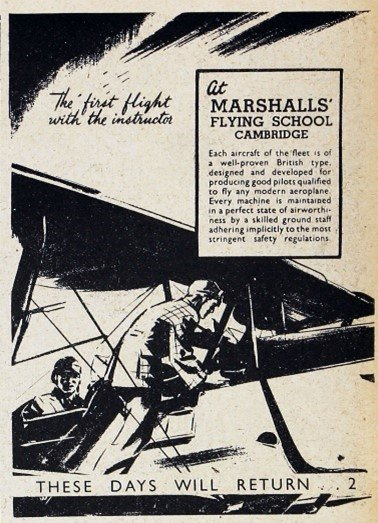 Leaflet advertising Marshalls' Flying School, Cambridge