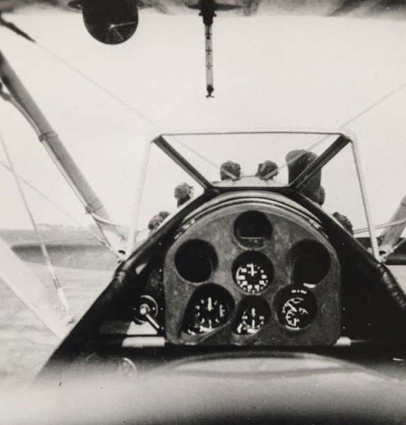 The instructor's cockpit on a PT 17A showing the dials, etc.