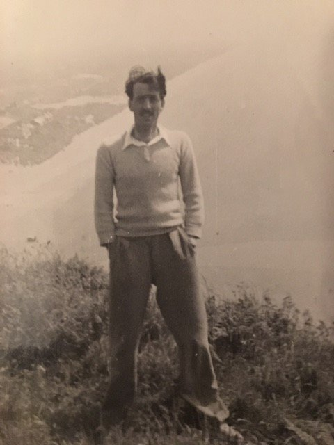 Ted Morgan on cliffs overlooking Pendine in 1948