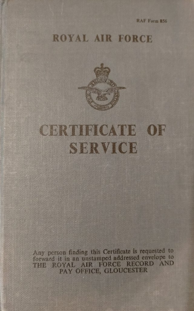 Cover of John Evans' Certificate of Service Book.