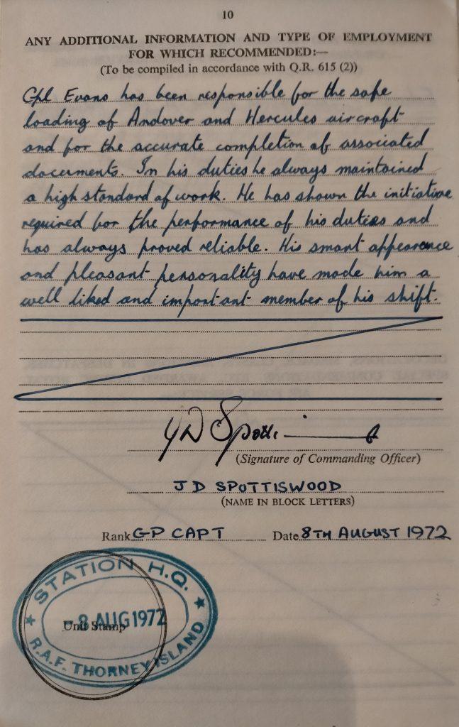 Appraisal of John Evans written by his Station Commander, Dennis Spottiswood.